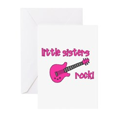 Little Sisters Rock! pink gui Greeting Cards (Pk o