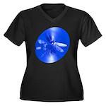 Blue Dragonfly Women's Plus Size V-Neck Dark T-Shi
