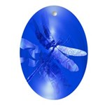 Blue Dragonfly Oval Ornament