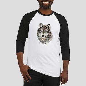 Watercolor Grey Gray Wolf Animal N Baseball Jersey