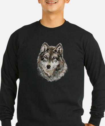 Watercolor Grey Gray Wolf Anim Long Sleeve T-Shirt