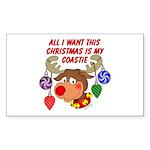 Christmas I want my Coastie Rectangle Sticker