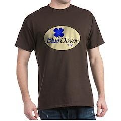 Blue Clover Tv Logo On Cream Oval - T-Shirt