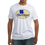 Blue Clover Tv Logo On Cream Oval - Fitted T-Shirt
