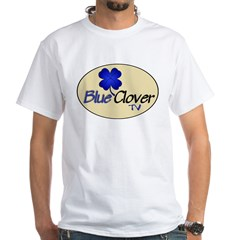Blue Clover Tv- Oval / Hollow Icon - White T-Shirt