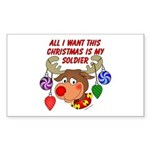 Christmas I want my Soldier Rectangle Sticker