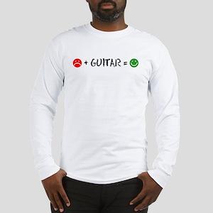 Plus Guitar Equals Happy Long Sleeve T-Shirt
