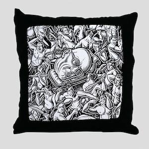 Michel Foucault head carried through Throw Pillow
