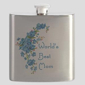 Worlds Best Mom Vintage Forget Me Not Flowe Flask