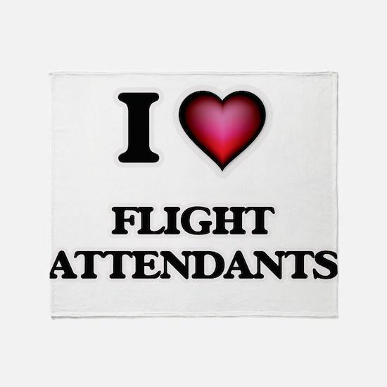 I love Flight Attendants Throw Blanket