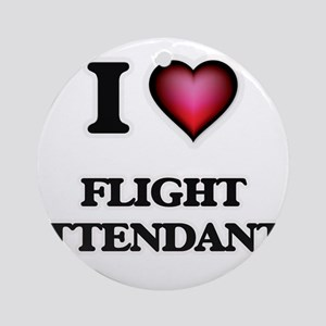 I love Flight Attendants Round Ornament