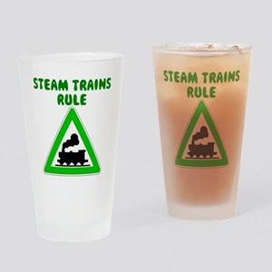 Steam Trains Rule Drinking Glass