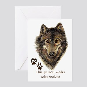 This Person Walks with Wolves Wolf Greeting Cards