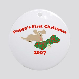 Puppy's First Christmas 2007 Ornament (Round)