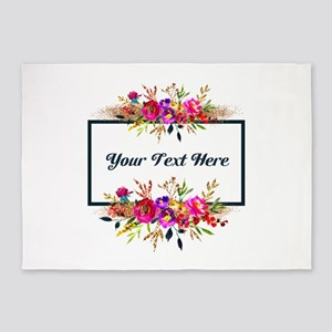 Watercolor Floral Wreath Personalized 5'x7'Area Ru