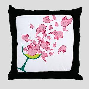 Glass of Pink Elephants Throw Pillow