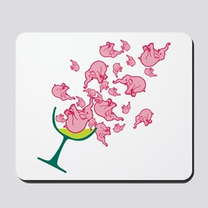 Glass of Pink Elephants Mousepad