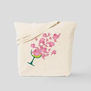 Glass of Pink Elephants Tote Bag