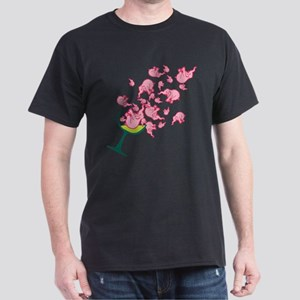 Glass of Pink Elephants Dark T-Shirt