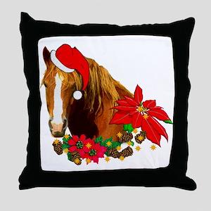 Christmas Horse Throw Pillow