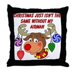 Christmas without my Airman Throw Pillow