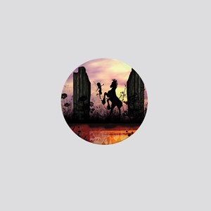 Cute fairy with foal in the sunset Mini Button