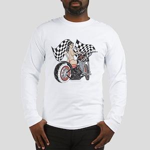 Pin Up Girl On Chopper Long Sleeve T-Shirt