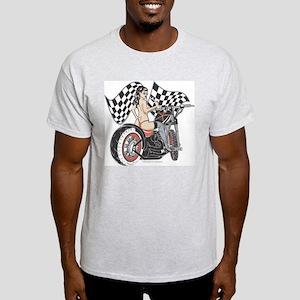 Pin Up Girl On Chopper Light T-Shirt