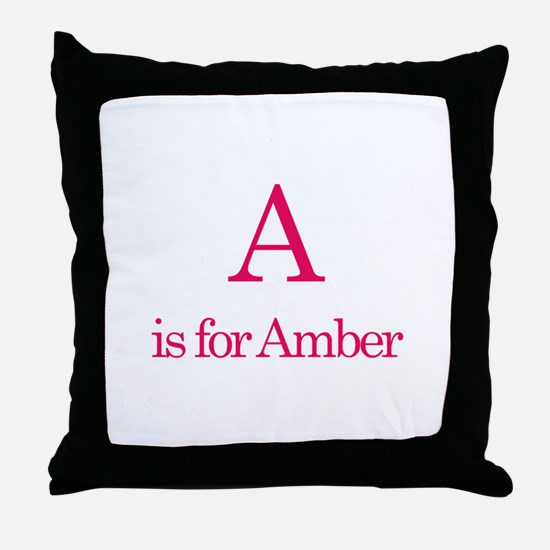 A is for Amber Throw Pillow