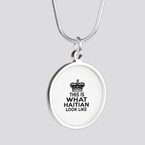 I Am Haitian Silver Round Necklace