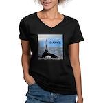 WHALE DANCER Women's V-Neck Dark T-Shirt