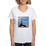 WHALE DANCER Women's V-Neck T-Shirt