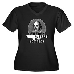 Shakespeare is my Homeboy Women's Plus Size V-Neck