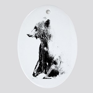 Grizzly Grandeur Oval Ornament
