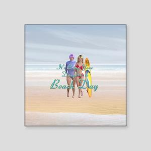 "Beach Day Square Sticker 3"" X 3"""