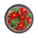 Red Flowers Yellow Centers Wall Clock