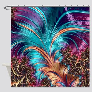 Feather - abstract 3d Fractal Shower Curtain