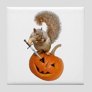 Squirrel Sword Jack-o-Lantern Tile Coaster