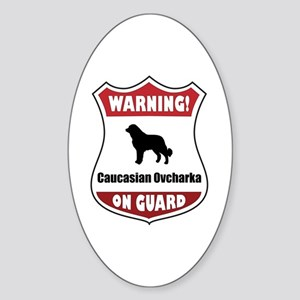 Caucasian On Guard Oval Sticker