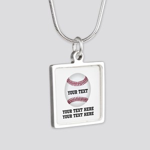 Baseball Silver Square Necklace