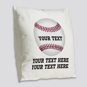 Baseball Burlap Throw Pillow
