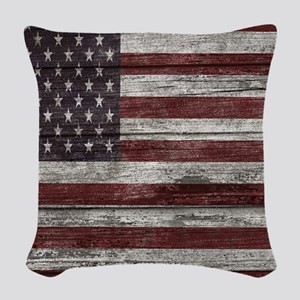 Wood Boards American flag 1 Woven Throw Pillow
