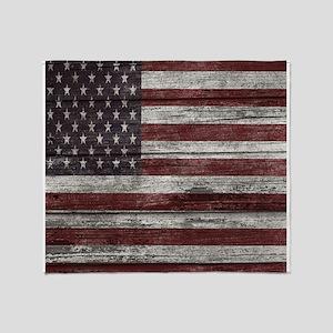 Wood Boards American flag 1 Throw Blanket