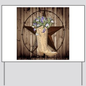 western country texas cowgirl Yard Sign