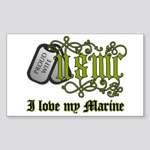 USMC wife - I love my Marine Rectangle Sticker