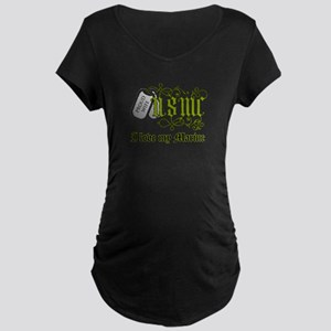USMC wife - I love my Marine Maternity Dark T-Shir