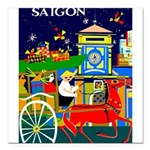 Saigon Travel and Tourism Print Square Car Magnet