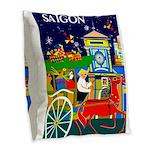 Saigon Travel and Tourism Print Burlap Throw Pillo