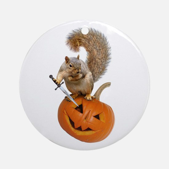 Squirrel Sword Jack-o-Lantern Round Ornament