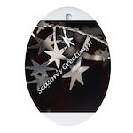 Season's Greetings - Stars Oval Ornament